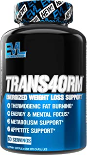 Evlution Nutrition Trans4orm - Complete Thermogenic Fat Burner for Weight Loss, Clean Energy and Focus with No Crash, Boos...