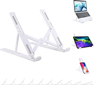 YMXuan Laptop Stand Adjustable 10-Levels Height, Lightweight Ergonomic Foldable Portable Computer Stand, Ventilated Laptop...