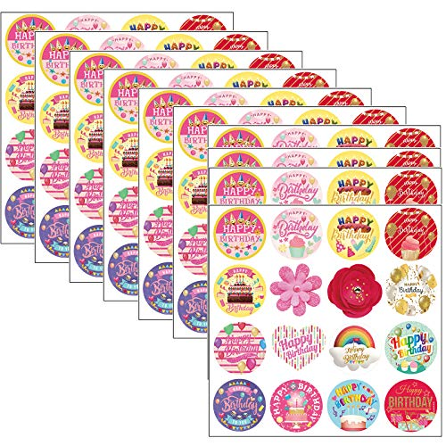 Pegatinas de Feliz Cumpleaños, 512Pcs Etiqueta Adhesiva Pegatinas redondas, hechas a mano, para Sello Scrapbooking Regalo Bolsa Jabón Recuerdo Boda Fiesta Aniversario Cumpleaños 3,8 cm