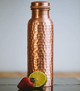 Copper Water Bottle 31 Oz Extra Large - an Ayurvedic Pure Copper Vessel - Drink More Water, Lower Your Sugar Intake and Enjoy The Health Benefits Immediately