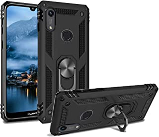 Phone Case for Huawei Y6 2019 /Y6 Prime Armor Heavy Duty 360 Rotatable Ring Kickstand Cover & Magnetic Car Mount Grip Shockproof Back Case for Huawei Honor 8A Black