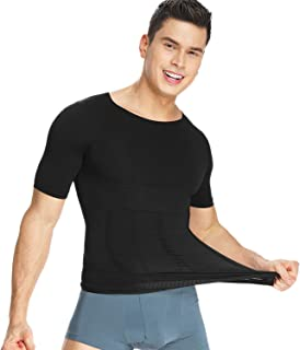Aullnise Men Compression Shirts Toning Slimming Body Shaper Weight Loss Workout Shorts