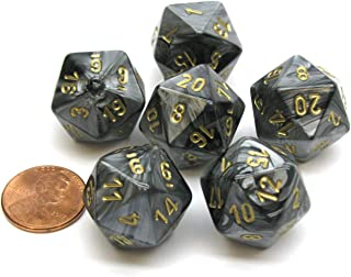 Chessex Lustrous 20 Sided D20 Dice, 6 Pieces - Black with Gold Numbers