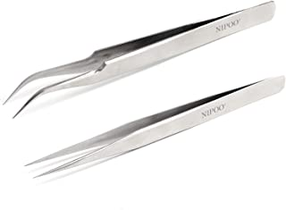 Best Tweezers for Eyelash Extension - Straight and Curved Pointed Tweezers - Professional Stainless Steel Precision Tweeze...