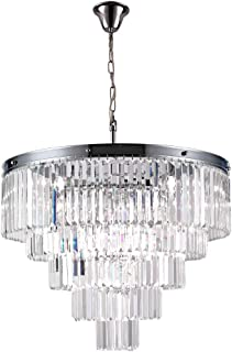 Luxury Modern Crystal Chandeliers Lighting Ceiling Lamp Lights Fixture With 5 Tiers for Dining Room, Living Room(12 Lights Chrome)