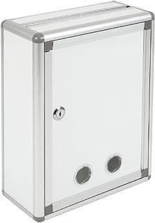 Aoakua 鍵付きBOX A4用紙対応 応募箱 投票箱 投函箱 アンケートボックス 等 投入口大 シルバーホワイト W26cm