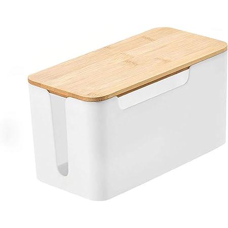 Houjia Kabelbox Groß Steckdosen Box Kabelsammler Aufbewahrungsbox Für Kabelführungs Ladekabel Mit Belüftung Steckdosenbox 31 14 5 13 Cm Hölzerne Textur Organizer Weiß Kabel Aufbewahrungsbox Küche Haushalt
