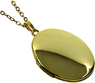 Ms.Iconic Simple Oval Photo Locket Pendant Charm Necklace 27''