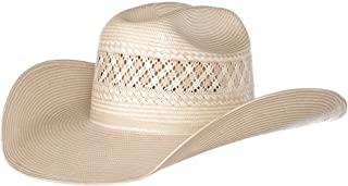 NRS Mens Two Tone Vented Ivory and Tan Rancher Crease Straw Hat