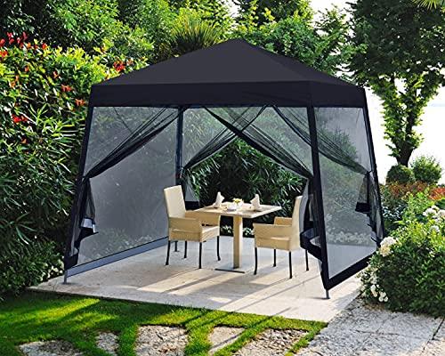 MASTERCANOPY Pop Up Gazebo Canopy with Mosquito Netting (10x10, Black)