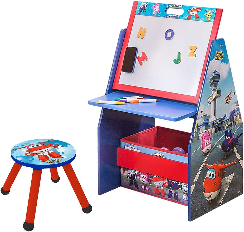 Style home 3 in 1 Kinder Schreibtisch + Hocker+ Maltafel + Bücherregal + Spielzeugkiste, Holz Kinder Sitzgruppe Kinderstuhl Regal Organzier ''Super Wings'' C3DZD001