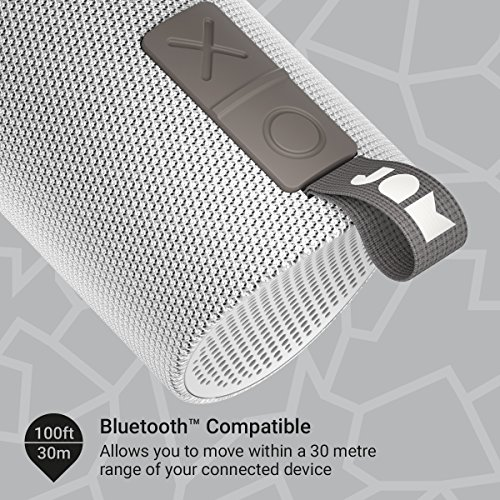Jam Zero Chill Pairable Bluetooth Speaker, 30 Metre Range, Waterproof, 22 Hour Playtime, Dust Proof, Drop Proof IP67 Rating, Built In Speakerphone, Aux In Port, USB Charging - Grey