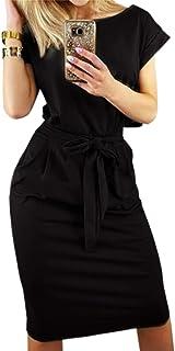 Smile Fish Women's Striped Elegant Short Sleeve Midi Dresses Pockets Casual Pencil Dress with Belt