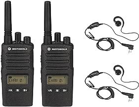 2 Pack of Motorola RMU2080d Radios with 2 Push To Talk (PTT) earpieces.