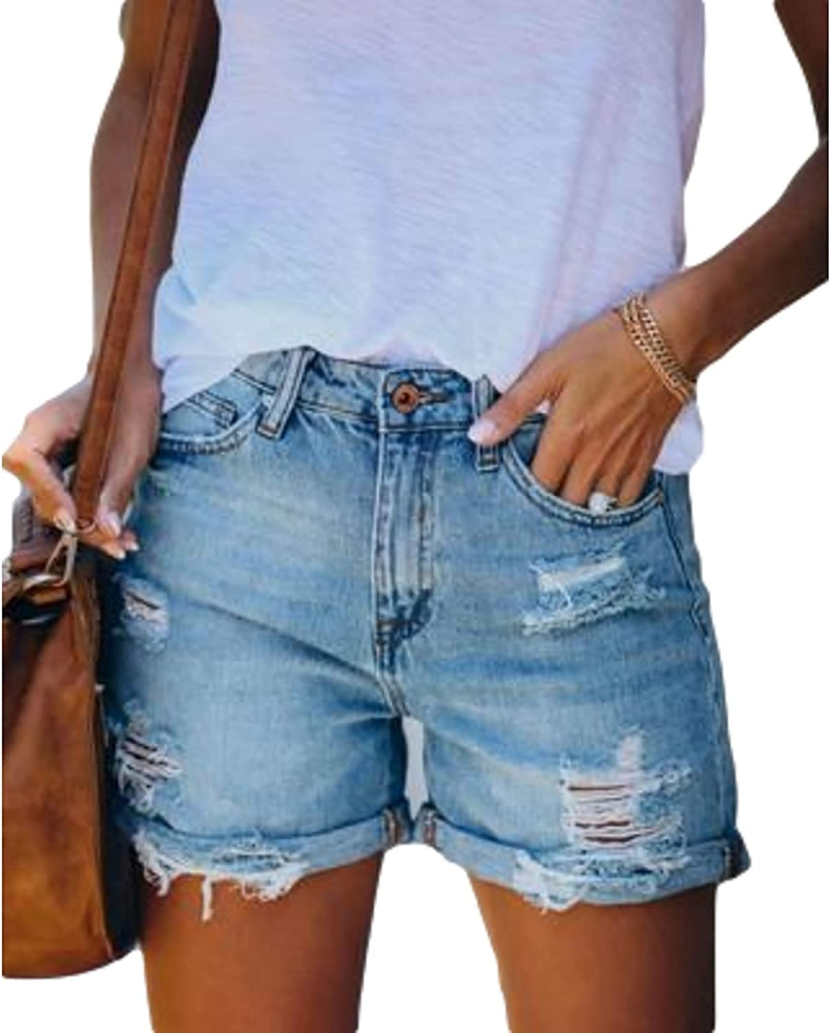 Women's Ripped Washed Denim Shorts Fashion All-Match Streetwear Trend Crimping