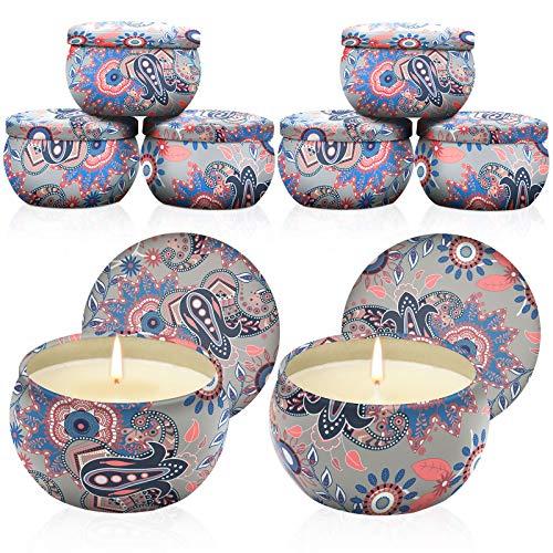 Warxin Velas Perfumadas, 8 Piezas Regalo de Velas Perfumadas,100% de Cera de Soja Candle Velas Perfumadas de Lata de Viaje para Aliviar el Estrés, Cumpleaños, Día de San Valentín, Día de La Madre