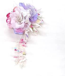 [ミッシュキッシュ]髪飾り クリップ 花びら下がりの和柄2輪コサージュ 4517-419
