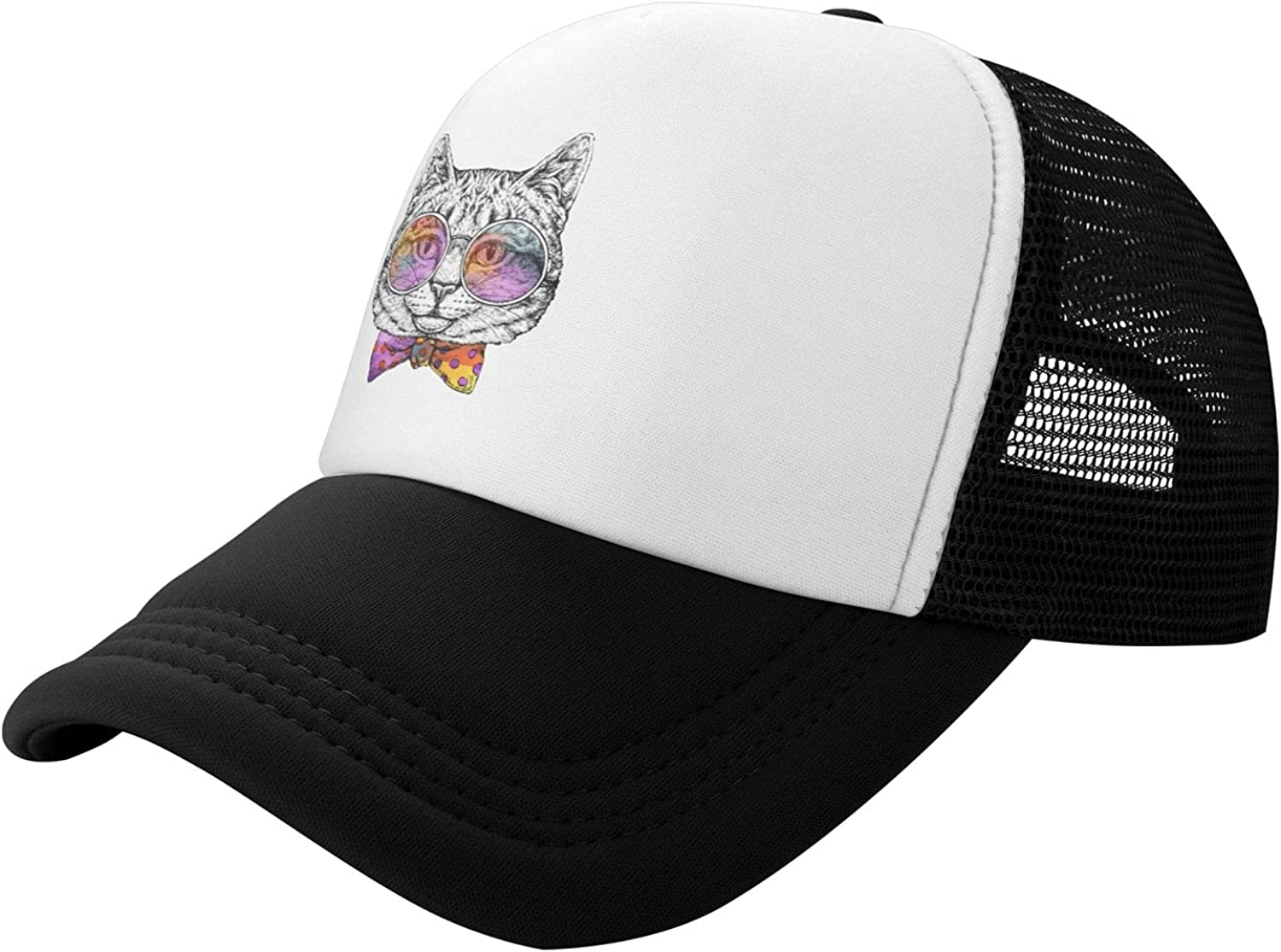 Cat with Glasses and Quality inspection Bow Tie Kids Raleigh Mall Baseball Toddler Cap Girl Boys