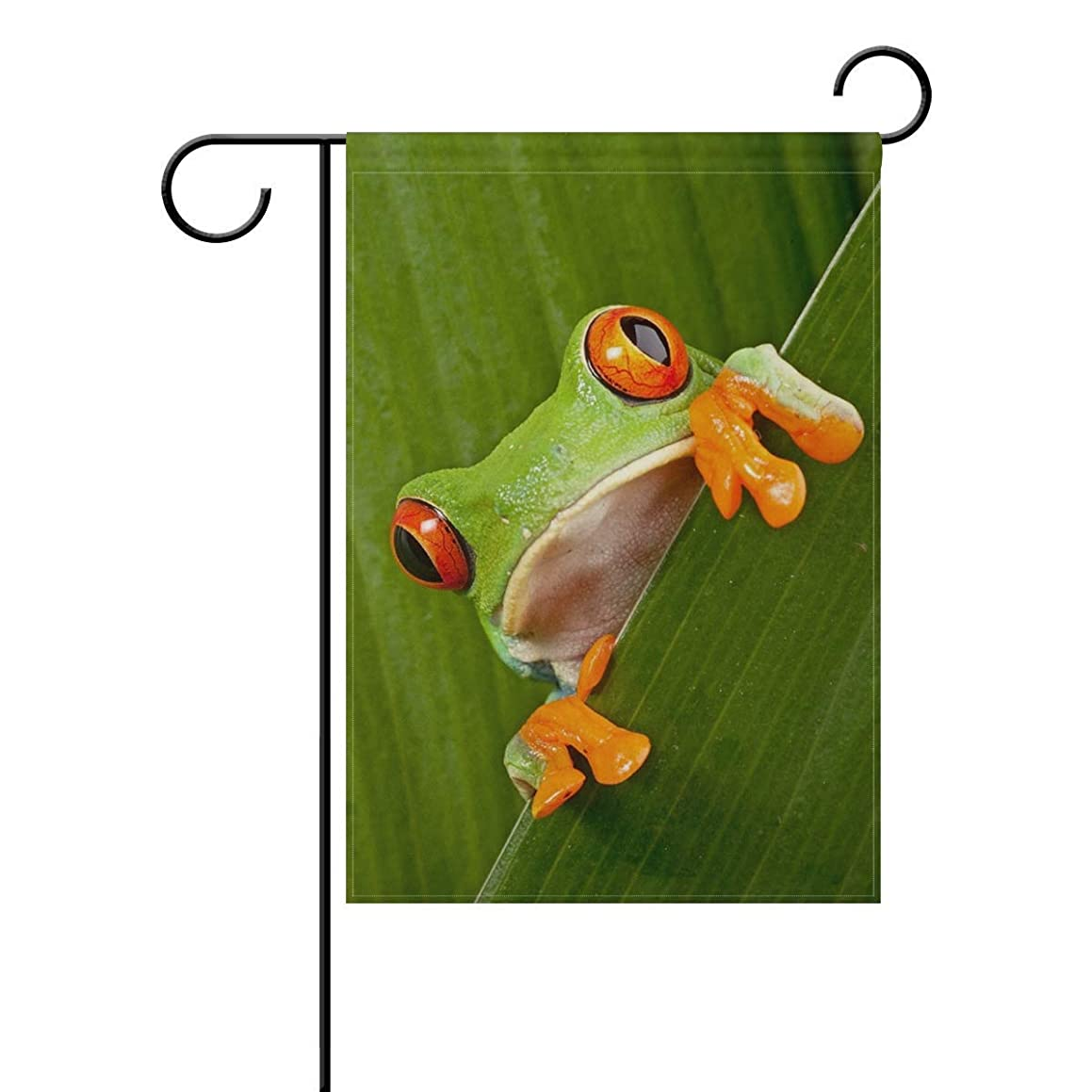 lychi Red Eyed Tree Frog Green Leafs Polyester Garden Flag Banner 12 x 18 Inch for Outdoor Home Garden Flower Pot Decor