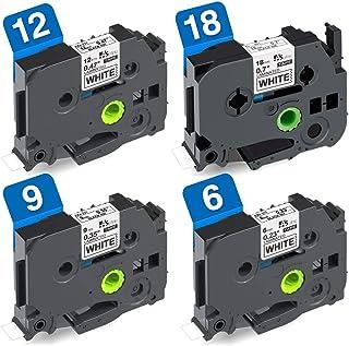 6mm 9mm 12mm 18mm 白 互換 ピータッチ テープ Brother ブラザー P-Touch Pタッチ TZe-211 TZe-221 TZe-231 TZe-241 ラミネート 黒文字 8M 4個セット ASprinte