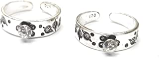925 sterling silver & white stone toe ring (thai trend) or mid finger ring for girls and women(bichhiya) weight 2.9gm