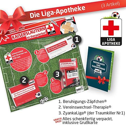 Geschenk-Set: Die Liga-Apotheke für FCK-Fans | 3X süße Schmerzmittel für Kaiserslautern Fans | Die besten Fanartikel der Liga, Besser als Trikot, Home Away, Saison 18/19 Jersey