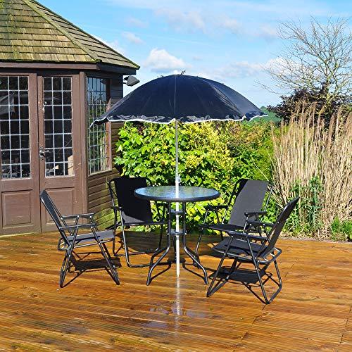 Kingfisher 6 pièces terrasse Ensemble de Salle à Manger – 4 Places extérieur Meubles de Jardin avec Table avec Plateau en Verre + 4 chaises Pliantes + Parasol Parapluie pour terrasse ou Balcon