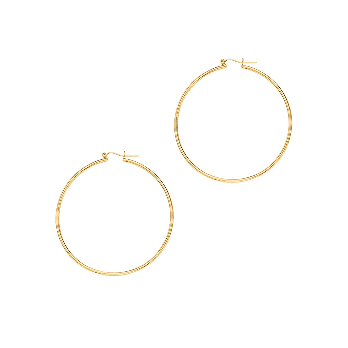 IcedTime Aleksa Ladies 14K White or Yellow Gold Polished Classic Hinched 1.5mm Tube Hoop Earrings 25-45mm