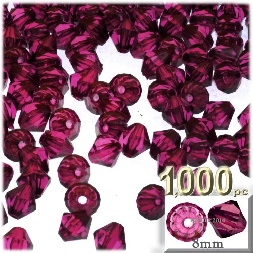 The Crafts Outlet, 1,000-pc Acrylic Bicone Beads, Faceted, 8mm, Fuchsia
