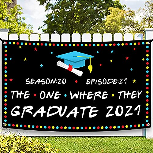 XtraLarge The One Where They Graduation Banner 2021-72 x 44 Inch | Friends Graduation Decorations 2021 | Friends Graduation Party Decorations | College Graduation Decor, Class of 2021 Decorations