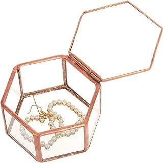 Feyarl Jewelry Trinket Glass Box Ornate Ring Earring Box Preserved Flower Glass Box Organizer Decorative Box Storage (Copper)
