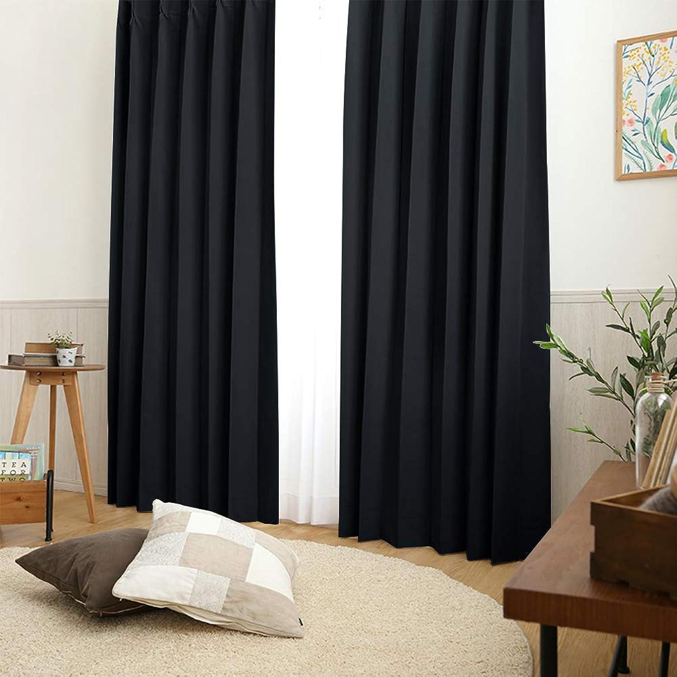 薬理学ラビリンス敬の念PONY DANCE 断熱 1級遮光カーテン ブラック 1枚 150x178cm 日除け UVカット 部屋仕切り 目隠し