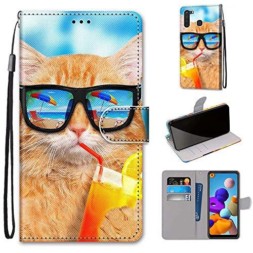 Miagon Flip PU Leder Schutzhülle für Samsung Galaxy A21,Bunt Muster Hülle Brieftasche Case Cover Ständer mit Kartenfächer Trageschlaufe,Limonade Katze