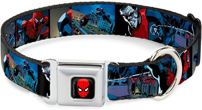 BuckleDown DCWSPD044WL Dog Collar Seatbelt Buckle, SpiderMan & Morbius Action Blocks, 1.5  by 1832