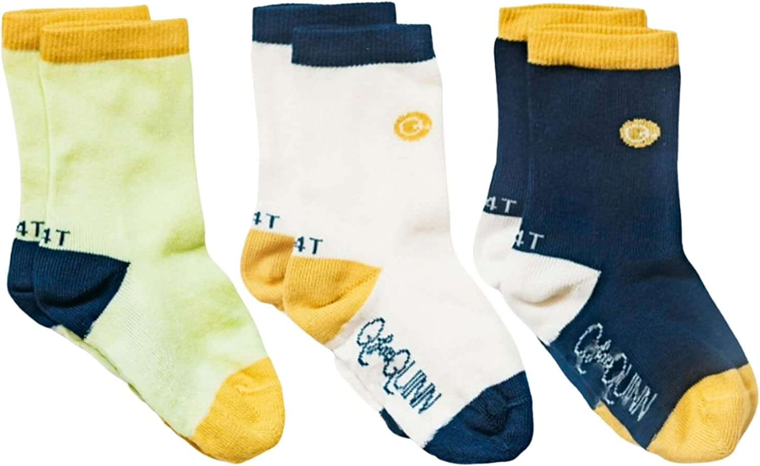 Q for Quinn 3 Pairs Organic Basics Socks for Toddler, Baby, Kids | Soft Breathable Toxic Free