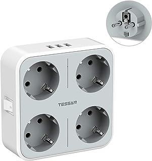 TESSAN USB Stekker, 4 Stopcontacten(3600W) en 3 USB (3A), 7 in 1 Stekkeradapter met Adapter Stekkers USB Stekker, USB Stop...