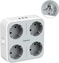 TESSAN USB Stekkerdoos, Wandstekkerdoos met 4 Stopcontacten en 3 USB Poorten, 7 in 1 met Meerdere Stekkers USB Adapter Sto...