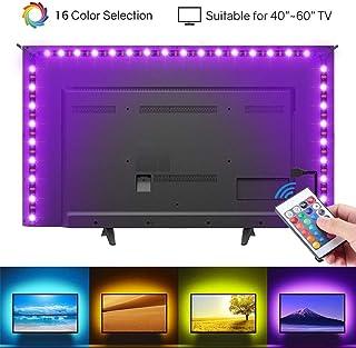 HIKENRI - Tira de luces LED para TV de 40 a 60 pulgadas, kit de retroiluminación LED USB con mando a distancia, 16 ledes que cambian de color 5050 para HDTV: Amazon.es: Iluminación