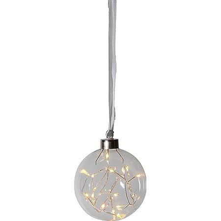 Micro LED Glaskugel warmweiß mit Seil Weihnachtskugel Lichtkugel