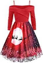 LEKODE Sling Dress Women's Printed Long Sleeve Ball Gown