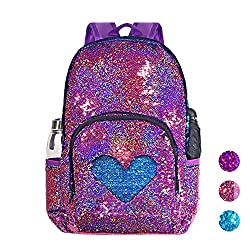Violet/Light Blue Sequin Elementary Book Backpack