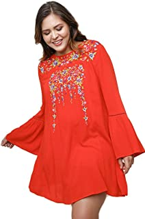 f8120f1dba57b Umgee Women s Floral Embroidered Bell Sleeve Shift Dress Plus Size