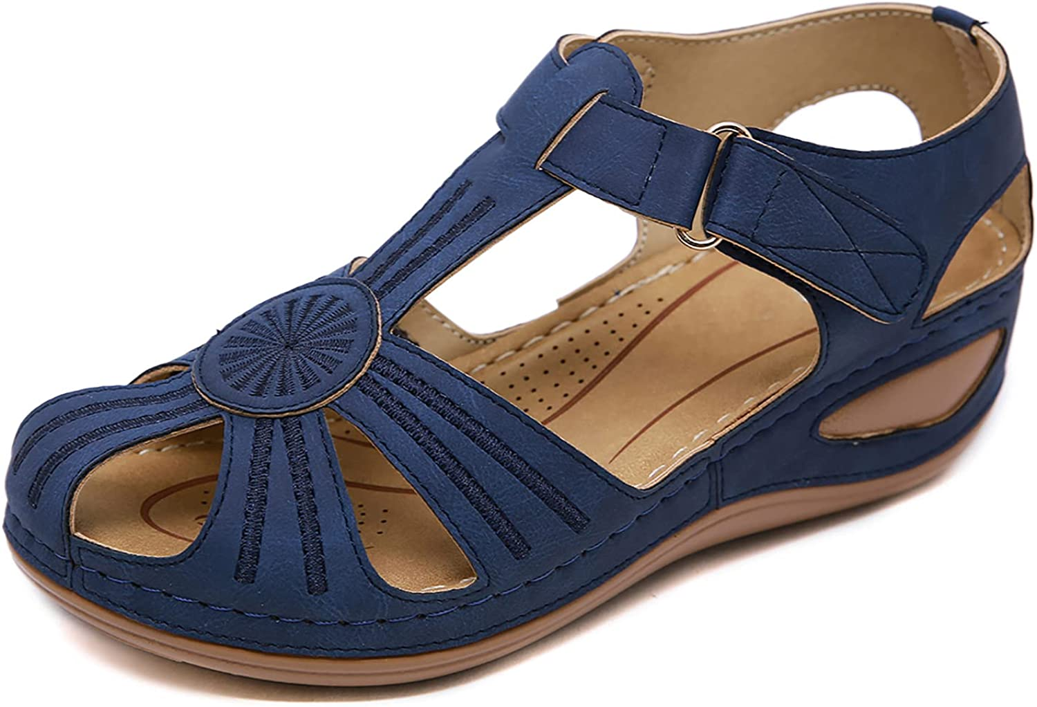 SHIBEVER Challenge the lowest price of Japan Women's Sandals Choice Hollow Closed Platform Wedge Toe Summer