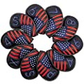 Patriotism Black Leather Golf Iron Club Head Covers Headcovers Set - 10pcs Golf Club Protector Case - Reb White Blue American Flag Style