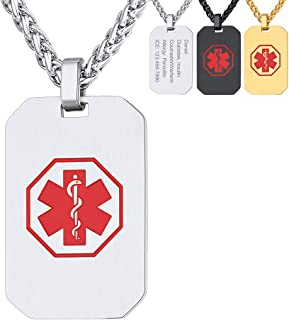 Tag Necklace Pendant Medical Alert ID Jewelry Stainless Steel for Women/Men/Children, Medical Emergency Identification Dog Tag Necklace Jewelry