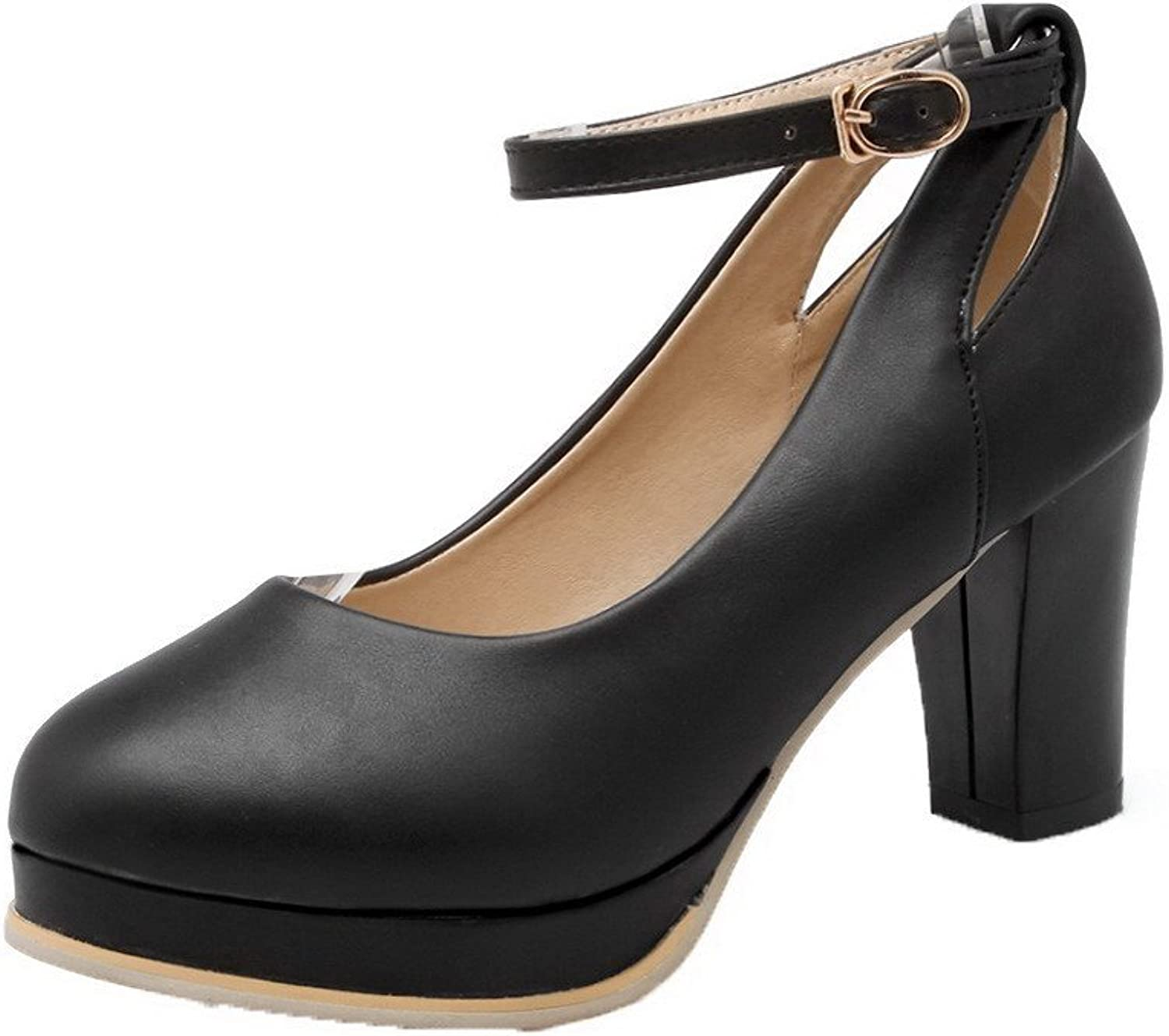 WeenFashion Women's PU Buckle Round Closed Toe High-Heels Solid Pumps-shoes