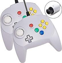 Lot de 2 mini manettes N64 - Manettes de jeu vidéo rétro - Pour console de jeux vidéo N64 - Gris
