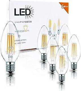 チラツキ少ない シャンデリア E17 口金 40W形相当 電球色 6個セット ホタルスイッチ対応 led電球 シャンデリア電球 シャンデリアled 密閉形器具対応 e17電球 調光器非対応