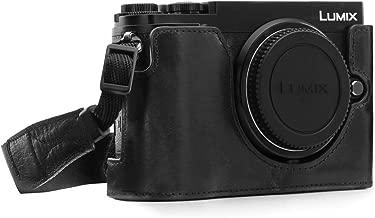 Megagear MG1442 Panasonic Lumix DC-GX9 Ever Ready Genuine Leather Camera Half Case and Strap, Black