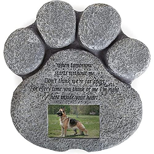 Bestevery Lápidas Conmemorativas para Perros, Lápida Conmemorativa para Mascotas Piedra Conmemorativa para Marcadores de Tumbas para Mascotas Personalizados en Forma de Pata